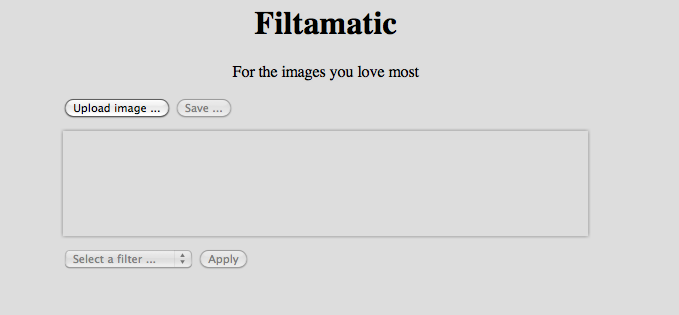 Main screen of Filtamatic sample application