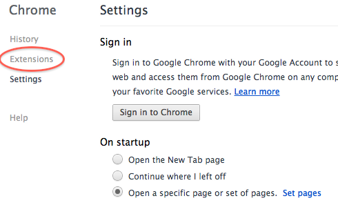 Chrome Settings Screen